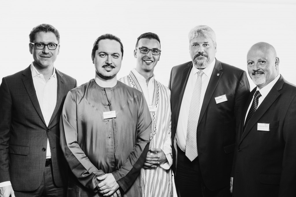 Heinrich Schellenberg, Ambassador of Switzerland to the Kingdom of Saudi Arabia; Omar Lahyani, CEO Spacebyte AG; Mounir Khouzami, President of SAN; Michael Kunzle, Mayor of Winterthur and Khaldoun Dia-Eddine, Head Center for Middle East & Africa Business at ZHAW School of Management and Law.