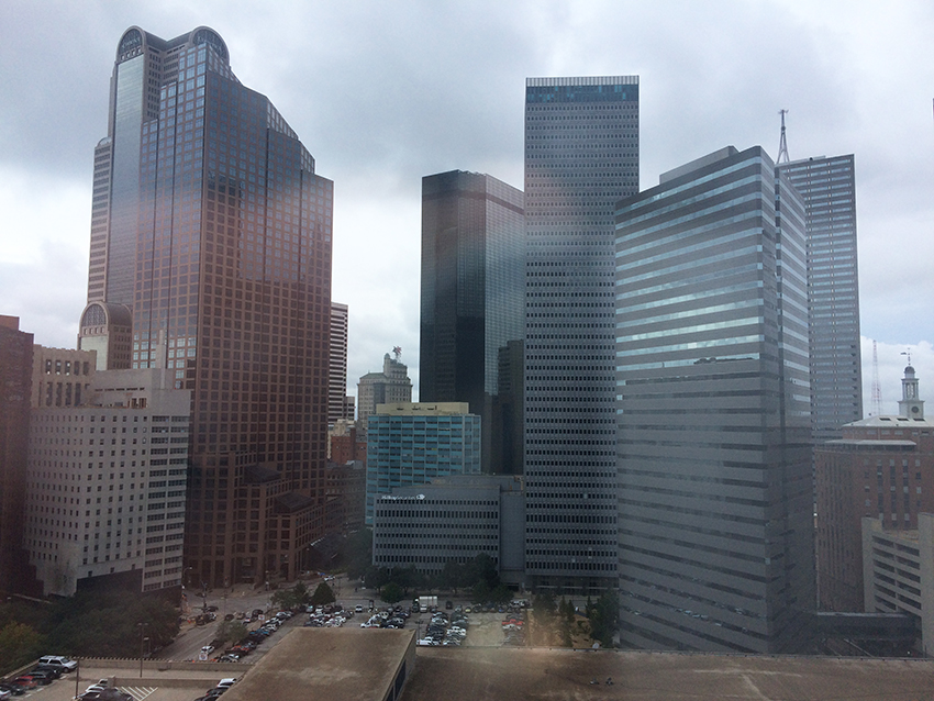 Downtown Dallas: Pascal had a great view from his hotel room.