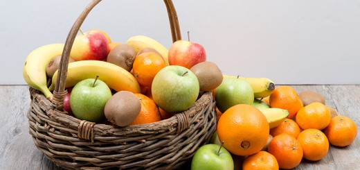 fruit and vegetable basket on wooden table