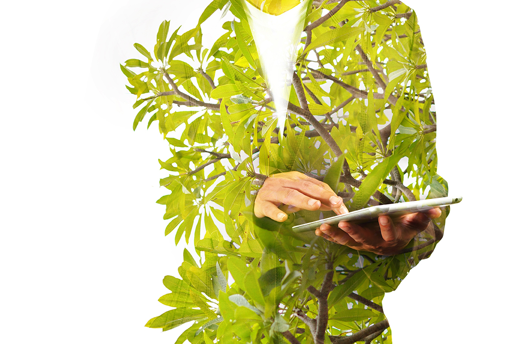 Double Exposure of Business Man using Mobile Tablet PC with Green leaf Plant or Tree