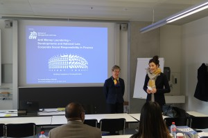 Prof. Isabelle Zulauf-Poli, welcoming guest lecturer Dr. Annette Althaus-Stämpfli, business lawyer and bank council.