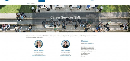 Screenshot: Neue Career Services Webseite