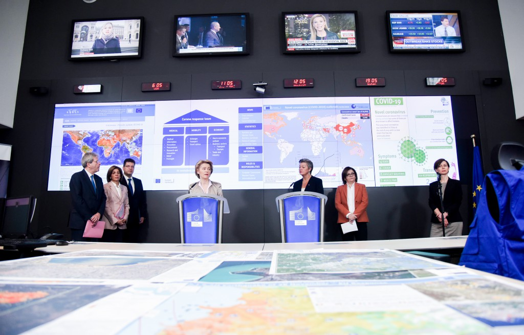 Press Conference at the EC/Emergency Response Coordination Centre in Brussels. © European Union, 2020